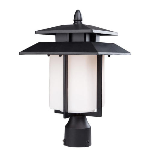 Artcraft AC8943BK The Bayshore Collection Features A Rich Black Finish Encasing A Vibrant White Glass. The Double Roofing Established A Unique Element Defining This Series (Units Take Medium Base Bulbling For Bright Exterior Illumination)