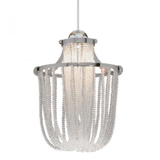 WAC MP-332-CL/CH CHROME MONOPOINT PENDANT WITH CLEAR 322 CRYSTAL STRANDS AND 50W 12V BIPIN XENON