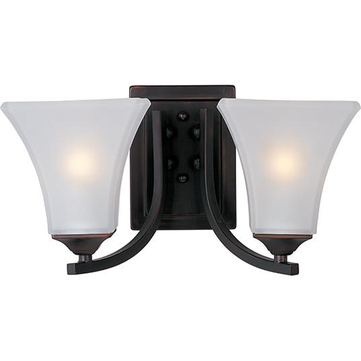"""MAXIM 20099FTOI Aurora 2-Light Bath Vanity 7""""H OIL RUBBED BRONZE FINISH WITH TAPERED SQUARE FROSTED GLASS SHADES"""