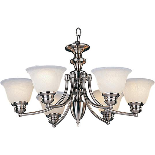 MAXIM 2684MRSN Malaga 6-Light Chandelier ALABASTER GLASS/SATIN NICKEL