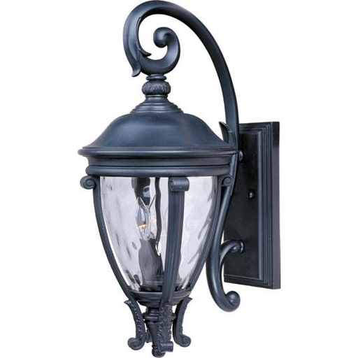MAXIM 41425WGBK Camden VX 3-Light Outdoor Wall Lantern Lantern WITH WATER GLASS