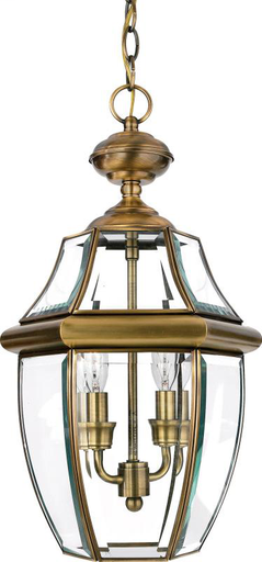 QUO NY1178A OUTDOOR FIXTURE 19 H 9 1/2 D BRASS MATERIAL (2)60W B10 CAN