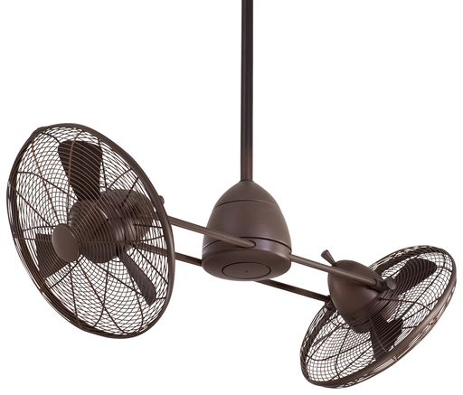 "MINK F402-ORB 42"" GYRO WET OIL RUBBED BRONZE TWIN TURBOFAN WITH REMOVABLE 100W HAL SCHOOLHOUSE GLOBE LIGHT AND WALL TOUCH CONTROL"