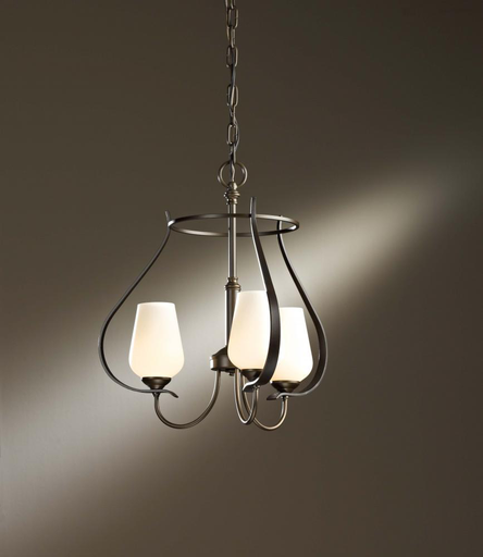 HUF 103047-10-ZS354 CHANDELIER WITH THREE ARMS AND GLASS OPTIONS.