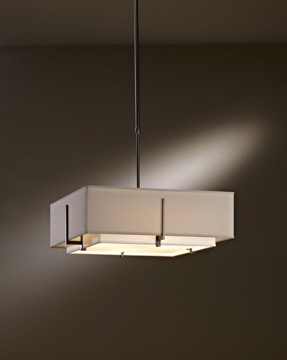 """HUF 139630-08-NFPF SQUARE DOUBLE SHADE PENDANT NATURAL ANNA INSIDE AND OUTSIDE SHADE, BURNISHED STEEL FINISH 4/75W-M ADJ. 32""""-48.7"""" O.A.L."""