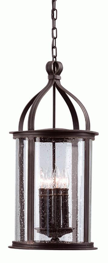 TRY F9477FBK SCARSDALE FORGED BLACK CHAIN HUNG LANTERN 4-60W CAN