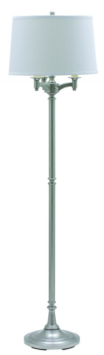 "HOT L800-SN SATIN NICKEL 63"" 6-WAY FLOOR LAMP 150W MED 3-WAY AND 3-75W MED WITH OFF-WHITE LINEN SHADE"