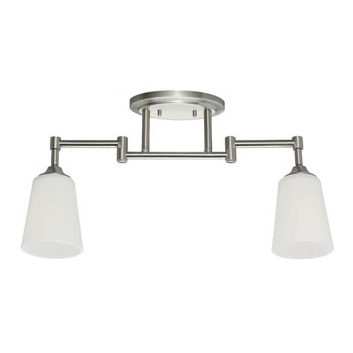 SEG 2530402-962 TWO LIGHT TRACK LIGHTING KIT IN BRUSHED NICKEL WITH SATIN WHITE GLASS Satin White Glass