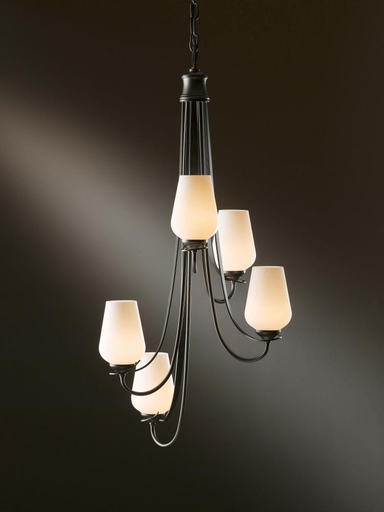 HUF 103035-05-ZS354 CHANDELIER: FLORA VERTICAL WITH FIVE ARMS AND GLASS OPTIONS.