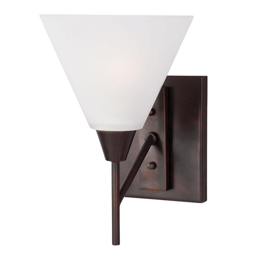 SEG 4111201-710 ASHBURNE ONE LIGHT WALL / BATH SCONCE IN BURNT SIENNA WITH SATIN ETCHED GLASS