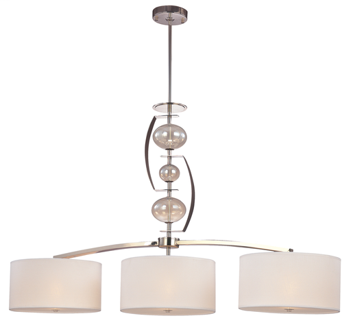 TRY F2867PN  DISC. POL. NICKEL/TOPAZ ISLAND PENDANT 3-60W MED WITH LINEN SHADES