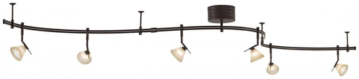 KOVAC P4086-1-467 SABLE BRONZE PATINA MONORAIL KIT WITH 300W 12V FLOATING ELECT TRANS, 10 FEET MONORAIL, 6 PIVOT HEADS, 6-35W MR16, 6 BURNT UMBER & 6 FRENCH SCAVO GLASS