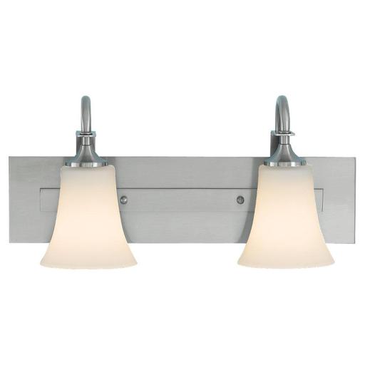 MURF VS12702-BS 2-LIGHT VANITY STRIP BRUSHED STEEL OPAL ETCHED GLASS2 - E 100 WATT