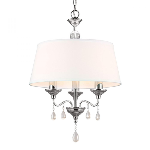 SEG 3110503-05 WEST TOWN THREE LIGHT CHANDELIER IN CHROME WITH WHITE FAUX LINEN SHADE