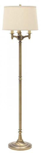 "HOT L800-AB ANT. BRASS 63"" 6-WAY FLOOR LAMP 150W MED 3-WAY AND 3-75W MED WITH OFF-WHITE LINEN SHADE"