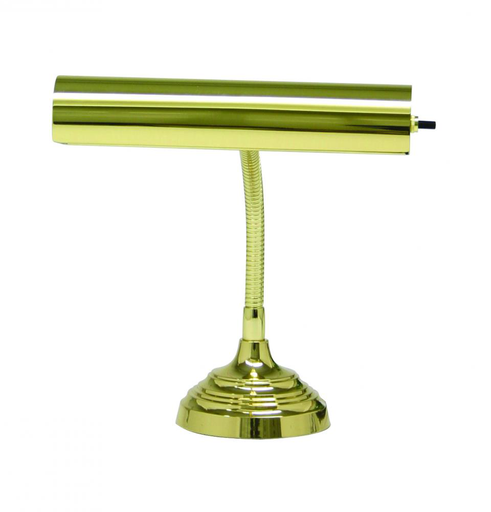 "HOT AP10-20-61 POL. BRASS 10"" ADVENT GOOSENECK PIANO/DESK LAMP 40W MED T10 FROST"