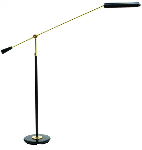 PFLED-617 Black Piano Floor LED with Polished Brass