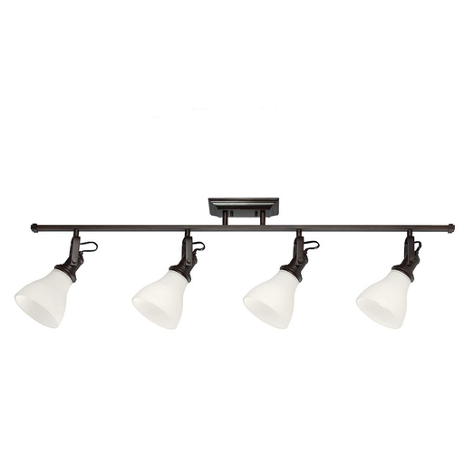 SEG 2520404-710 FOUR LIGHT TRACK LIGHTING KIT IN BURNT SIENNA WITH SATIN WHITE GLASS