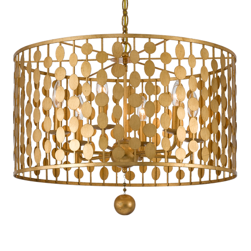 CRY 546-GA Layla 6 Light Antique Gold Chandelier