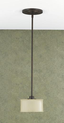 MURF P1098GBZ DISCONTINUED PENDANT - MINI GRECIAN BRONZE AMBER RIBBED GLASS SHADE1 - MINI