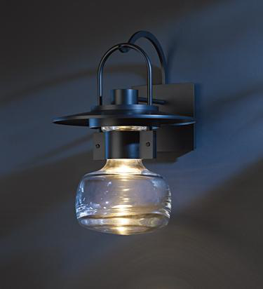 HUF 303005-20-ZM447 OUTDOOR SCONCE WITH THICK BLOWN GLASS BELL ALUMINUM, LARGE.