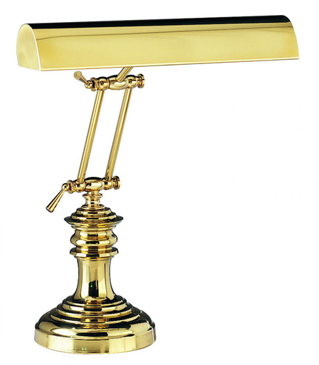 """HOT P14-204 SHADE (14"""") DESK/PIANO LAMP IN POLISHED BRASS (2'-16"""")(2-40OR 60T10S)"""