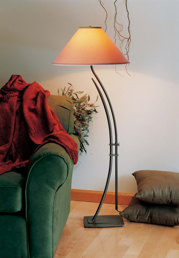 HUF 241952-08-447 FLOOR LAMP WITH SHADE OPTIONS: METAMORPHIC CONTEMPORARY. CLUTCH SYSTEM ALLOWS FOR ROTATION AND HEIGHT ADJUSTMENTS.