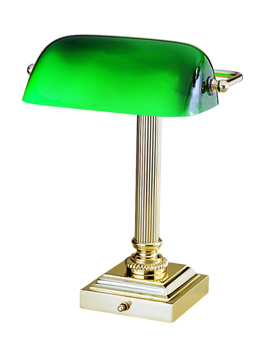 DSK428-G61 Shelburne Collection Polished Brass & Green Glass Lamp