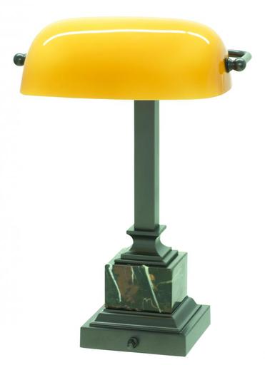 """HOT DSK430-MB OIL RUBBED BRONZE/BLK & TAN MARBLE/ AMBER GLASS 13.75"""" BANKER'S DESK LAMP 60W MED"""