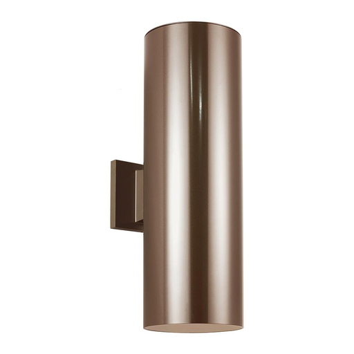 "SEG 8313902-10 6"" OUTDOOR BULLET 2 LIGHT WALL LANTERN IN BRONZE W/CLEAR TEMPERED GLASS"