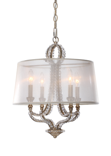 "CRY 6764-DT GARLAND 4 LIGHT MINI CHANDELIER 16"" W X 16"" H DISTRESSED TWIGHLIGHT"