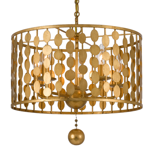 CRY 545-GA LAYLA 5 LIGHT ANTIQUE GOLD CHANDELIER