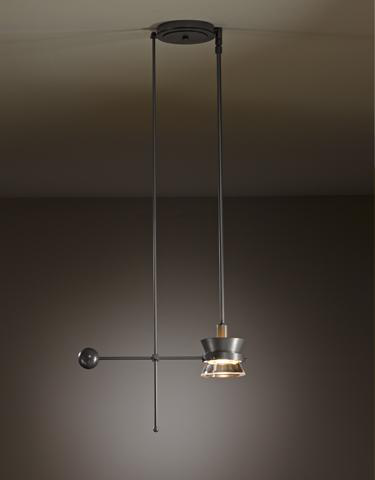 HUF 138801-08-ZM378 FIXED HEIGHT PENDANT WITH GLASS CONE AND METAL SHADE.