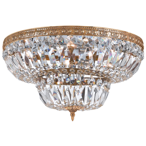 """CRY 730-OB-CL-MWP 30""""W CRYSTAL FLUSH MOUNT OLD BRASS FINISH 8/60W-C"""