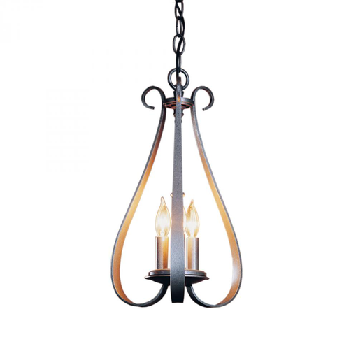 HUF 101473-20-CTO CHANDELIER: SWEEPING TAPER WITH THREE ARMS AND THREE-CANDLE CLUSTER.
