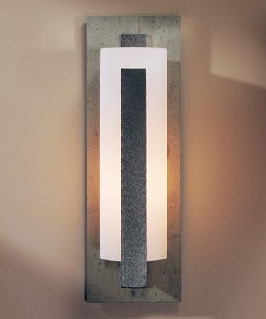 "HUF 307287-07-G37 OUTDOOR SCONCE WITH GLASS OPTIONS: 24IN FORGED VERTICAL BARS, ALUMINUM OR ALUMINUM ON SLATE (-SL) 24"" FORGED VERTICAL BARS, ALUMINUM OR ALUMINUM ON SLATE (-SL)"