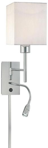 KOVAC P477-077 WALL LAMP W/READING LAMP CHROME 10WX23HX7E (1-60W)+1-3WLED