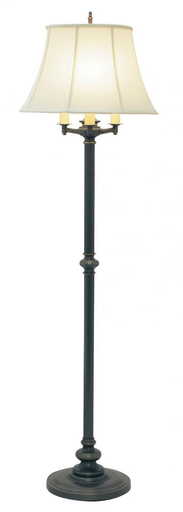 "HOT N603-OB OIL RUBBED BRONZE 62"" 6-WAY FLOOR LAMP 150W MED 3-WAY AND 3-75W MED WITH OFF-WHITE SHADE"