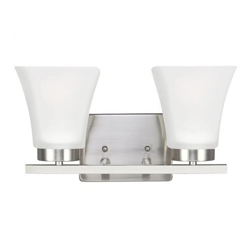 SEG 4411602-962 BAYFIELD TWO LIGHT BATH/WALL IN BRUSHED NICKEL WITH SATIN ETCHED GLASS