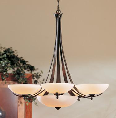 HUF 101263-07-G123G CHANDELIER: AEGIS WITH FIVE ARMS AND GLASS OPTIONS. WITH 5-75W G9 HAL AND OPAL GLASS