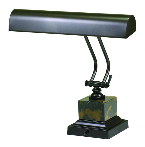 """HOT P14-280 MAHOGANY BRONZE/BLACK/TAN MARBLE 14"""" PIANO/DESK LAMP 2-40W OR 60W MED T10 FROST"""