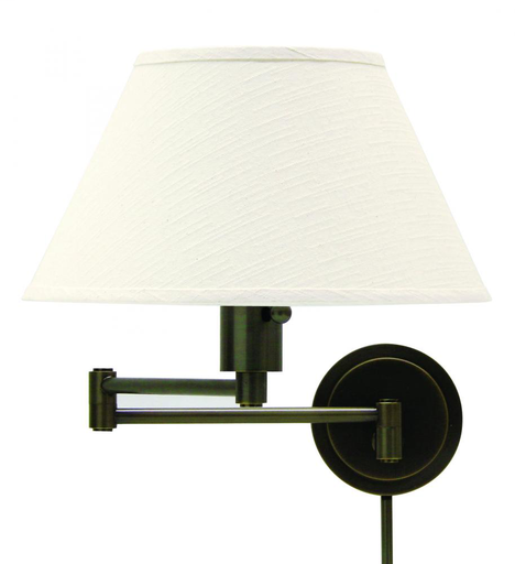 HOT WS14-91 OIL RUBBED BRONZE SWING-ARM WALL LAMP 100W MED 3-WAY WITH OFF-WHITE LINEN SHADE AND DIFFUSER