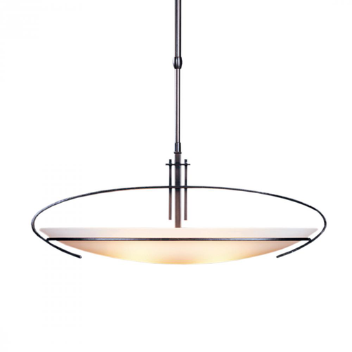 HUF 134322-20-G89 ADJUSTABLE PENDANT: OVAL MACKINTOSH WITH GLASS AND METAL DIFFUSER. INCLUDES ADJUSTABLE STEM AND SQUARE CANOPY KIT.