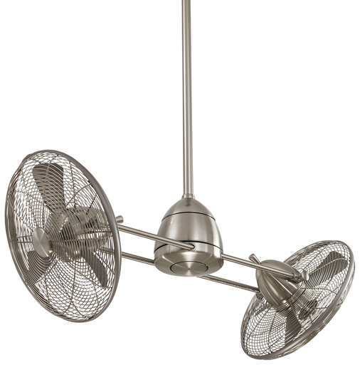 "MINK F402-BNW 42"" GYRO WET BRUSHED NICKEL TWIN TURBOFAN WITH REMOVABLE 100W HAL SCHOOLHOUSE GLOBE LIGHT AND WALL TOUCH CONTROL"