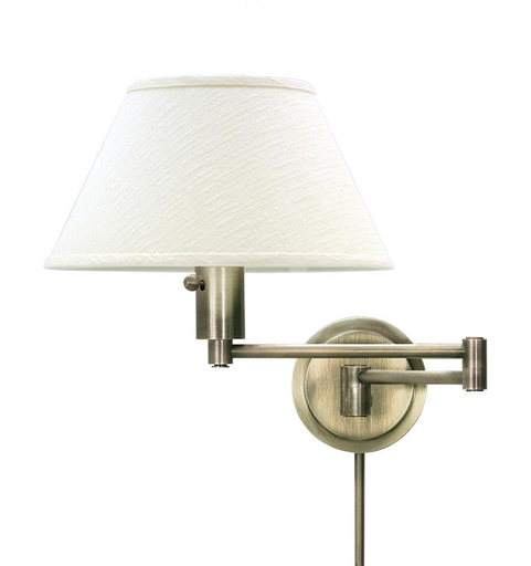 HOT WS14-71 ANT. BRASS SWING-ARM WALL LAMP 100W MED 3-WAY WITH OFF-WHITE LINEN SHADE AND DIFFUSER