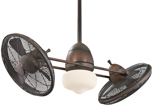 "MINK F602-RRB 42"" GYRO RESTORATION BRONZE TWIN TURBOFAN WITH REMOVABLE 100W MINCAN HAL SCHOOLHOUSE GLOBE LIGHT AND WALL TOUCH CONTROL"