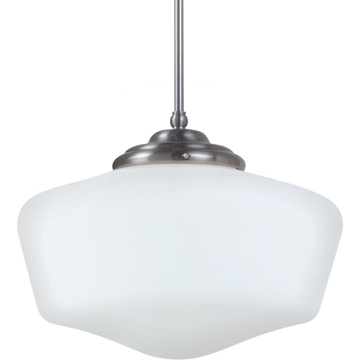 SEG 6543991S-962 LED ACADEMY EXTRA LARGE PENDANT IN BRUSHED NICKEL WITH SATIN WHITE SCHOOLHOUSE GLASS with Satin White Schoolhouse Glass