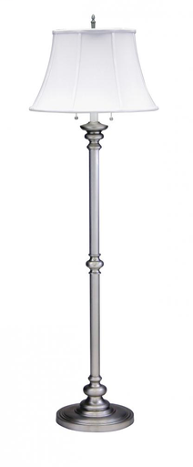 "HOT N601-PTR PEWTER 57.5"" FLOOR LAMP 2-100W MED WITH WHITE SHADE"