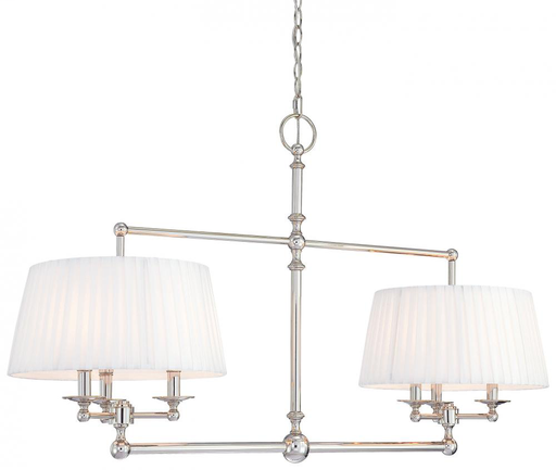 MINK N6800-613 POL. NICKEL ISLAND PENDANT 6-60W C WITH TWO WHITE PLEATED SHADES