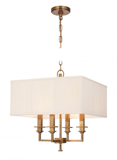 HDV 244-PN 4 LIGHT CHANDELIER WITH SQUARE SHADE